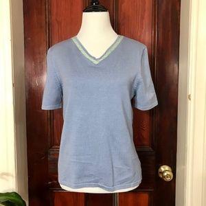 NWT - Pendleton blue and green silk v-neck top